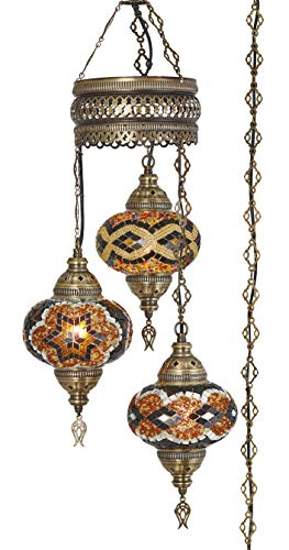 - Demmex 2019 Turkish Moroccan Mosaic Hardwired OR Swag Plug in Chandelier with 15feet Cord Cable Chain & 3 Big Globes (Amber) (Amber (Plug in))