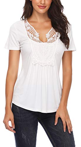 Women's Blouse White Shot Sleeves Work Casual Sexy T Shirts Tops ()