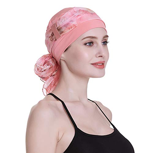 Coral Sleep Headwear for Chemo Women Dressy Scarf Headwraps Bonnet