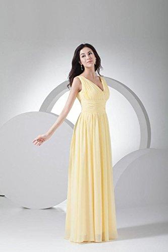 Damen Wedding Party Fanciest Neck Lang V for Yellow White Brautjungferkleider Chiffon FWgdq