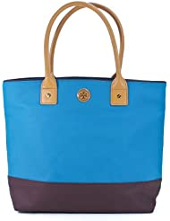 Tory Burch Dipped Canvas Jaden Tote in Electric Eel & Coconut