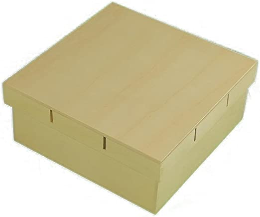 Caja madera cuadrada. Tapa para cinta 20*20 cms. Para pintar ...