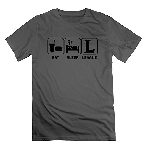 FZLB Men's Eat Sleep League Of Legends T-Shirt Large DeepHeather ()