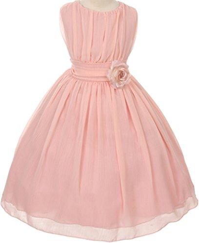 BluNight Collection Classic Yoryu Chiffon Lovely FLower Little Girl Flower Girls Dresses (35G34G) Blush 4 (Pin Little Pink Dress)