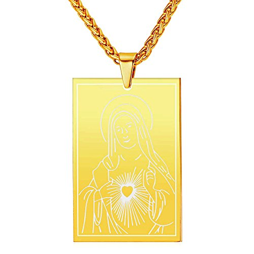 U7 Immaculate Heart of Mary Tag Necklace & Black Rope Chain 18K Gold Plated Catholic Gift Lady of Guadalupe Pendant for Men and Women