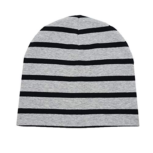 Home Prefer Baby Boys Winter Hat Daily Earflap Beanie Cotton Knitted Hat Stripe Grey S