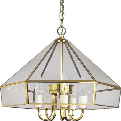 Progress Lighting P5009-10 Five-Light Candle Cluster, Flat Bound Glass, Polished Brass