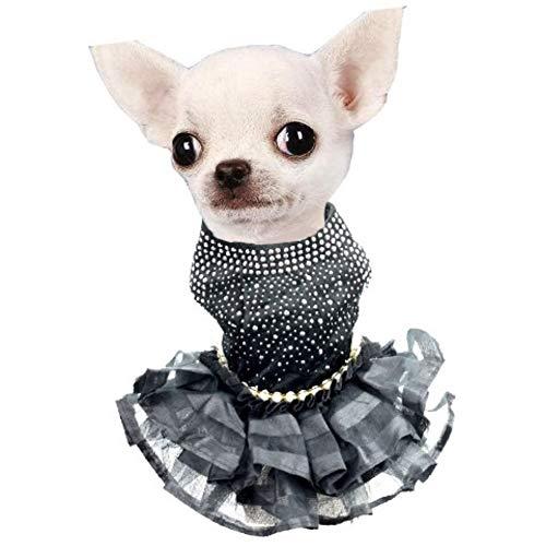 CheeseandU Small Dog Cat Bling Black Dress Dog Puppy Luxury Pearl Dress Cute Tutu Skirt Princess Wedding Dress Summer…