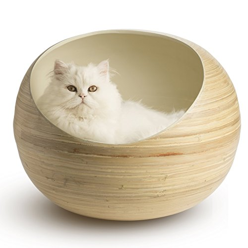 Fhasso Stylish Modern Cat Cave Bed - Luxury Bamboo Pet