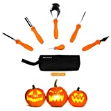 Secura Pumpkin Carving Kit – 6 Piece Professional Stainless Steel Carves & Sculpts Halloween Jack-O-Lanterns Easily, Scoops, Scrapers, Saws, Loops