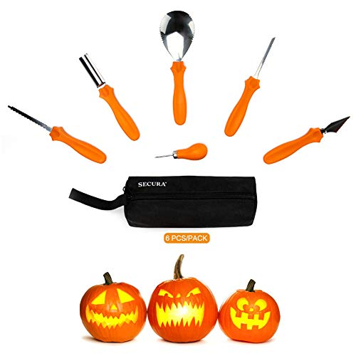 Secura Pumpkin Carving Kit - 6 Piece Professional Stainless Steel Carves & Sculpts Halloween Jack-O-Lanterns Easily, Scoops, Scrapers, Saws, Loops -