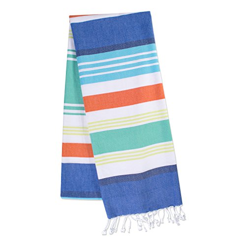 DII Peshtemal Turkish Super Soft, Absorbent, Oversized Bath Towel, Throw, Blanket Fringe for Chair, Couch, Picnic, Camping, Beach, Yoga, Pilates, Everyday Use, 39 x 71 - Blue Beachy Stripe by DII