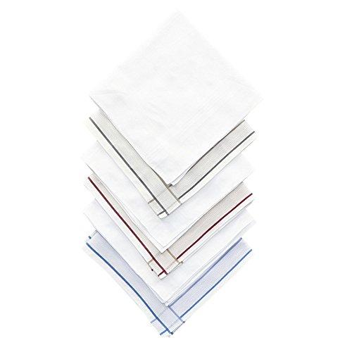 Umo Lorenzo Men's Basic Stripe Dress Handkerchief Set (Pack of 6), White by Umo Lorenzo (Image #4)