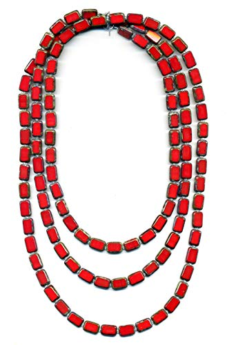 Long Beaded Necklace in Red, 7-Ways to Wear, Glass Tile Beads, 60