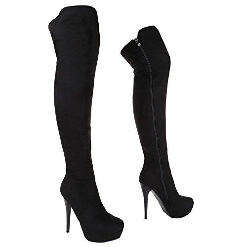 Ital Stilettoabsatz Klassischer Stiefel High Overknee Design Stiefel Schwarz Schuhe Damen Pfennig Stiefel Reißverschluss Heels WqrwaUqx8f