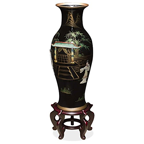 ChinaFurnitureOnline Tall Porcelain Vase with Mother of Pearl Figures on Black