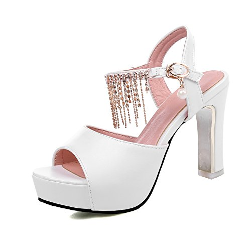 QIN&X Bloque de Mujer Tacones Peep Toe Sandalias de Plataforma White