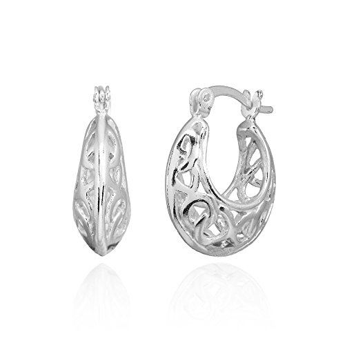 Sterling Silver Polished Filigree Intertwined Infinity Small Hoop Earrings