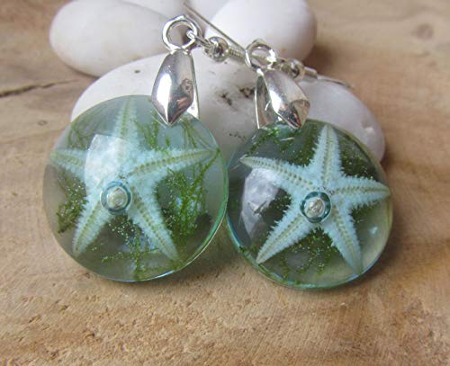 ocean earrings, blue starfish jewelry, under water set jewelry, starfish and moss resin earrings, starfish necklace, nature resin jewelry