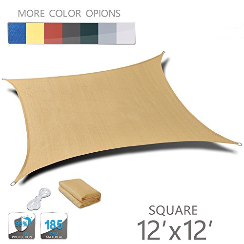 Love Story 12' x 12' Square Sand UV Block Sun Shade Sail Perfect for Outdoor Patio Garden (Sunshade Sail Square)