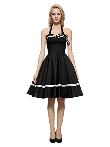 Maggie Tang Cabestro 1950s Vintage Rockabilly vestido de la mujer Negro