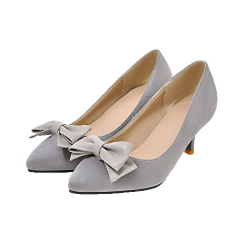 Pull Shoes Toe Closed Women's WeenFashion Gray Kitten Solid Frosted On Heels Court f4Cwqx5g