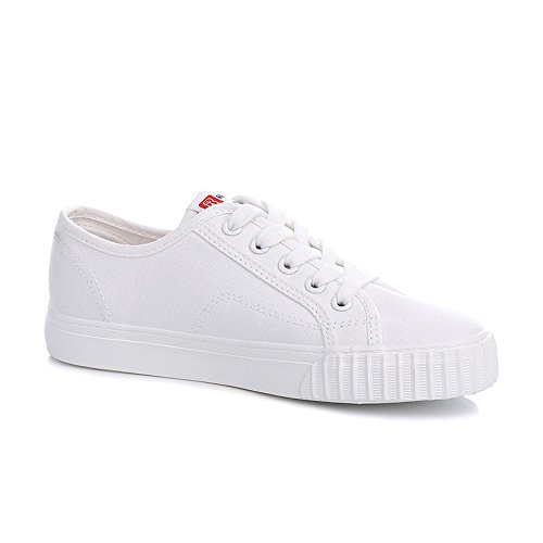 Simple Sneakers Canvas (Renben Womens Canvas Shoes Flat Low Top Lace up Casual Slip On Sneakers)