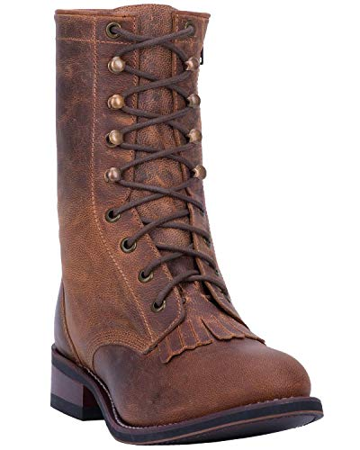 Laredo Women's Sara Rose Lace-Up Western Boot Round Toe Tan 10 M