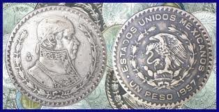 1957 Mexican Silver Peso — Silver Dollar Sized Coin — Very Fine