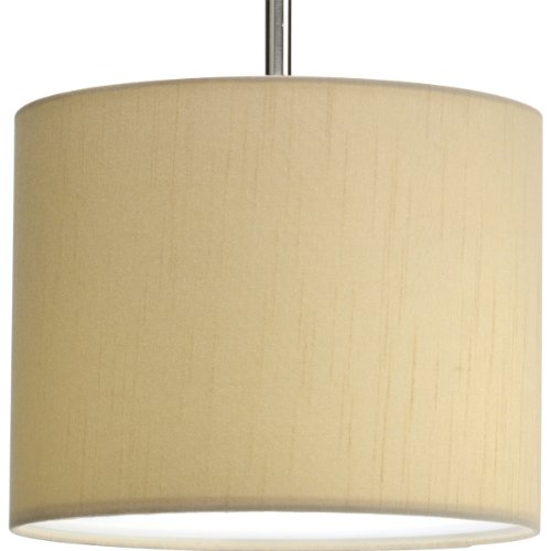 Progress Lighting P8821-01 Modular Pendant System Choose Shade and 1-Light Stem (P5198) To Make Complete Fixture 10-Inch Drum Shade, Beige Silken Fabric