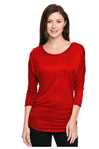 G2 Chic Women's Solid Color Rayon Dolman Quarter Sleeve Stretch Fit Top(TOP-SHT,RED-M)