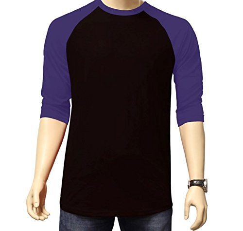 Men's Plain Athletic 3/4 Sleeve Baseball Sports T-Shirt Raglan Shirt S-XL Team Jersey Black Purple ()