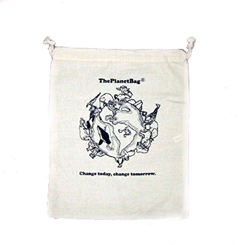 Produce Bag Large 100% Cotton Reusable Drawstring The Planet Bag Set of Three (3) 15'' x 12''