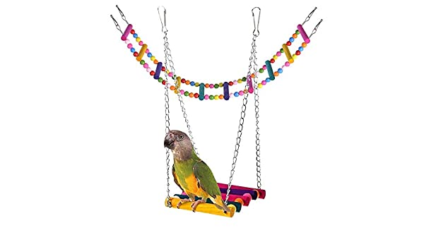 Tomkity Kit Juguete para Periquito Columpio para Loros + Escalera para Loro Percha Madera para Conos de Jaula Periquitos Cacatúas Guacamayos Pinzas Periquitos Pájaros: Amazon.es: Productos para mascotas