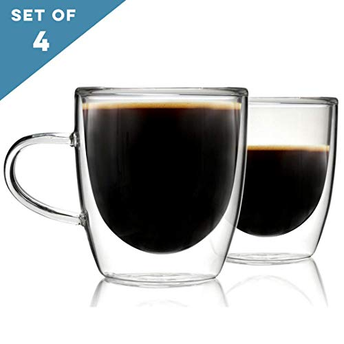 Glass Coffee or Tea Cups Drinking Glasses Set of 4-5oz Double Walled Thermo Insulated Mugs with Handle for Espresso Latte Cappuccino by Kitchables