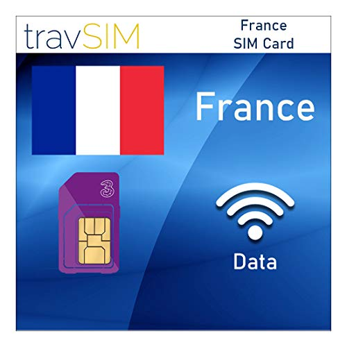 travSIM Franse SIM Kaart (Three UK SIM Kaart) Geldig voor 30 Dagen – 20GB Mobiele Data – Frankrijk UK Three Franse SIM…