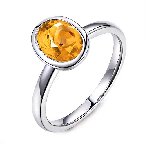 KnSam Oval Shape Citrine 9x7MM Sterling Silver Jewelry Ring for Women Fashion Size 5.5
