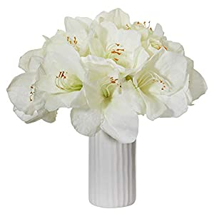 Nearly Natural 1860-WH Amaryllis Artificial White Vase Silk Arrangements, 88