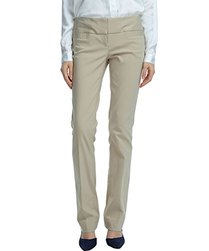 SATINATO Women's Stretch Work Pants Office Casual Business Wear Khaki by SATINATO