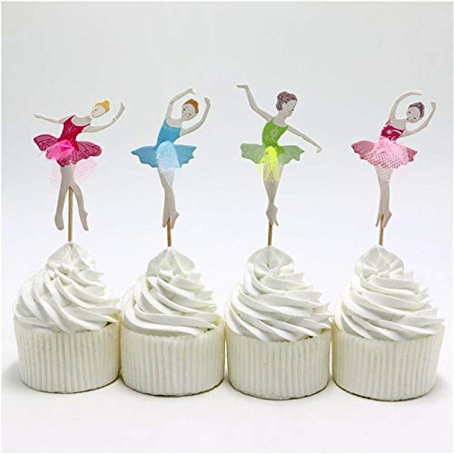 Best Quality - Cake Decorating Supplies - 24pcs\lot Happy Birthday Ballet Dance Girl Cake Toppers Kids Favors Baking Picks Happy Baby Shower Party Decoration Supplies - by JefreyF - 1 PCs -
