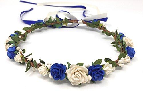 Daddasprincess Flower Girl Crown Wedding Boho Headpiece Headband Hair Wreath (Royal Blue)