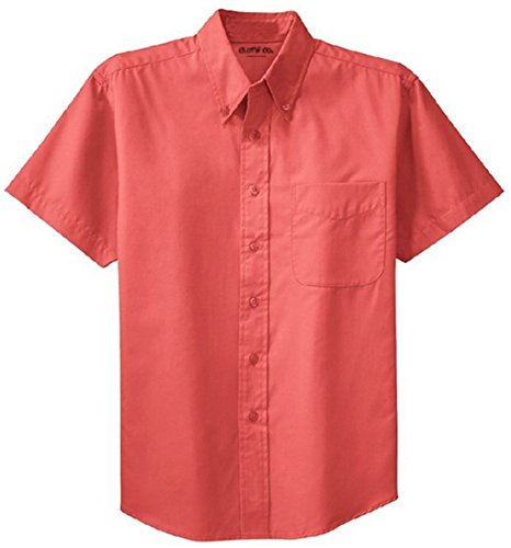 Navy Pink Red Royal Stone - Clothe Co. Mens Short Sleeve Wrinkle Resistant Easy Care Button Up Shirt, Hibiscus, 4XL