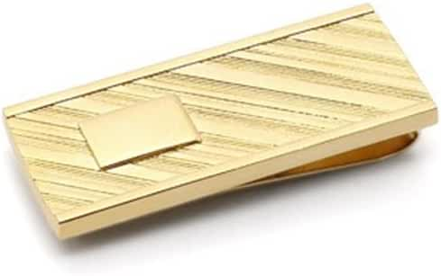 Stylish Gold Plated Money Clip with Diagonal Design