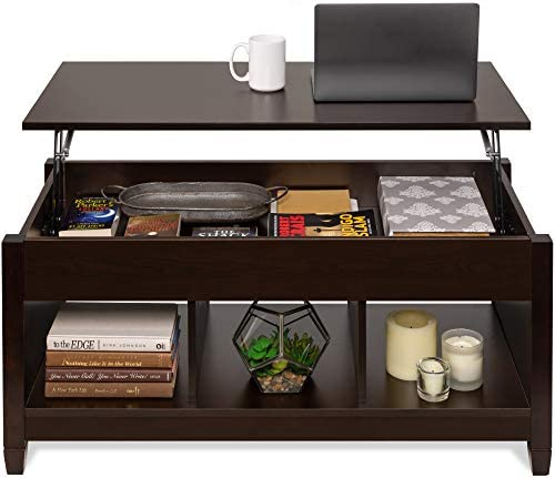 Best Choice Products Wooden Lift Top Coffee Table, Multifunctional Accent Furniture for Living Room, Décor w/Hidden Storage, Display Shelves – Espresso