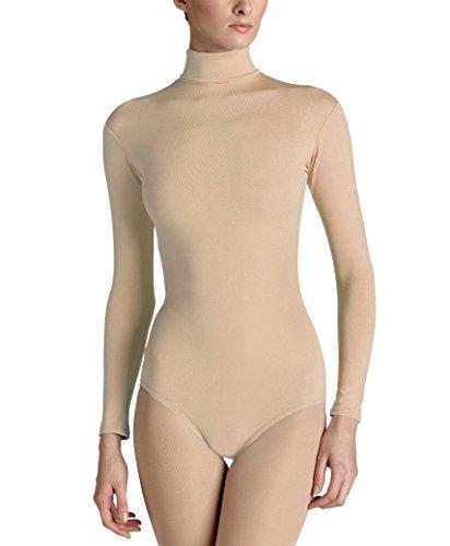(Elegance Ladies Turtle Neck Long-sleeve Stretch Quality Leotard/bodysuits (L, Tan))