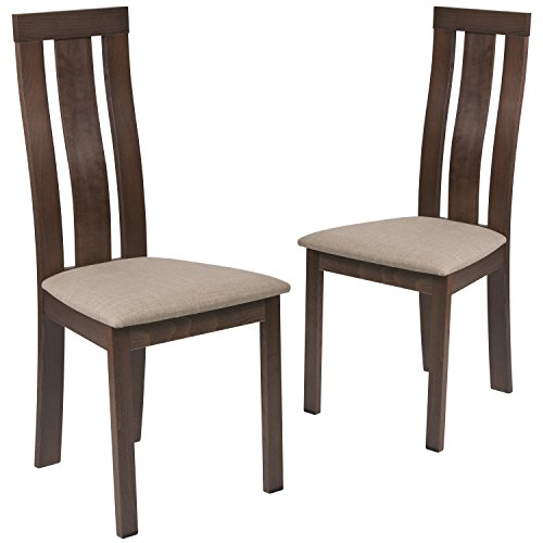 Flash Furniture 2 Pk. Glenwood Walnut Finish Wood Dining Chair with Vertical Wide Slat Back and Magnolia Brown Fabric Seat ()