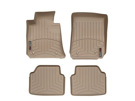 2012-2013 Mercedes-Benz C-Class-Weathertech Floor Liners-Full Set (Includes 1st and 2nd Row)-Fits Models with Two Retention Devices on the Driver's and Passenger's Side-Tan
