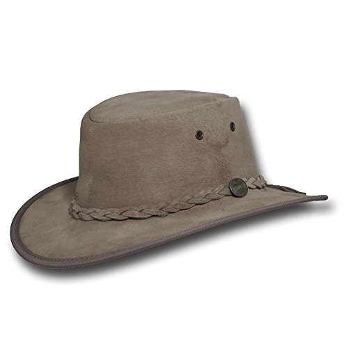 Barmah Hats Foldaway Suede Leather Hat 1066BL / 1066RB / 1066LM / 1066CH - Sand - Large by Barmah Hats
