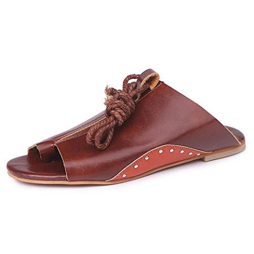Pescado Sandalias Peep Toe Strappy Sandalias Verano De Correas Zapatos Zapatos Minetom Sandals Marrón Plano Boca Tobillo Roman C Planas Mujer 1Bw4Zdqxt