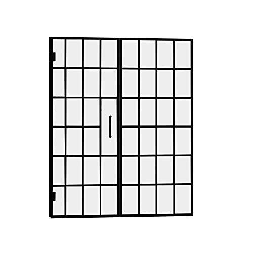 (DreamLine Unidoor Toulon 58-58 1/2 in. W x 72 in. H Frameless Hinged Shower Door in Satin Black,)